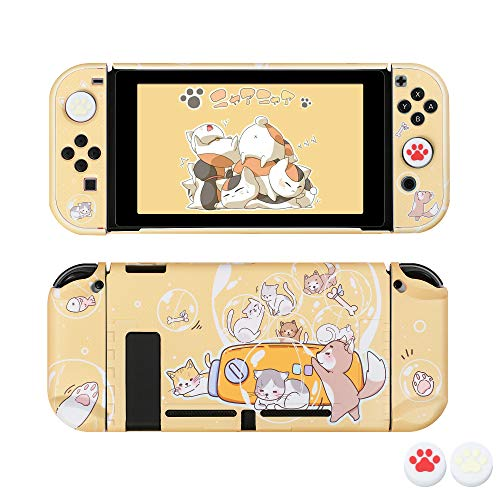 [Pro Version] Case for Nintendo Switch, FANPL Protective Case Cover for Nintendo Switch and Joy Con Controller with 2 Cat Claw Thumb Grips (Hubble-Bubble)