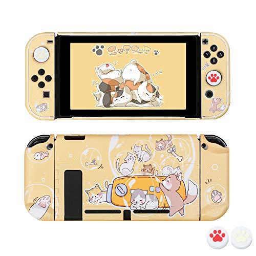 [Pro Version] Hülle für Nintendo Switch, FANPL Schutzhülle für Nintendo Switch und Joy Con Controller mit 2 Cat Claw Daumengriffen (Hubble-Bubble)