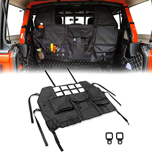 Rear Seat Cover Cargo Net Trunk Organizer Storage Bag Compatible with Jeep Accessories Wrangler JK JL 2007-2021 4 Doors Back Seat Pocket Adjustable Strap Pouch Bags Hanging Nets