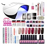 Coscelia 8pcs Kit Uñas de Gel Esmalte Semipermanente Soak off 8ml Nail Dryer Secador de Uñas 36W LED/UV Gel Esmalte de Uñas Curado Luz Máquina Capa Base Capa Superior de Manicura Kit