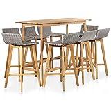Festnight Ensemble Table de Bar + 8 chaises de Bar Ensemble de Bar d'extérieur Salon de Jardin en résine tressée Bar de Jardin Table Haute Cuisine