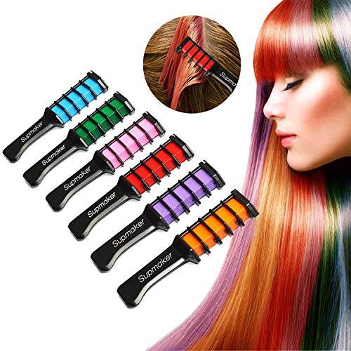 Haarkreide Kamm,Supmaker 6 Farben Tragbare Hair Chalk Set für Karneval, Halloween, Partys, Temporary Hair Color, Haarentfärber, ungiftig, auswaschbar, Pastellfarben, temporäre Haarfarbe