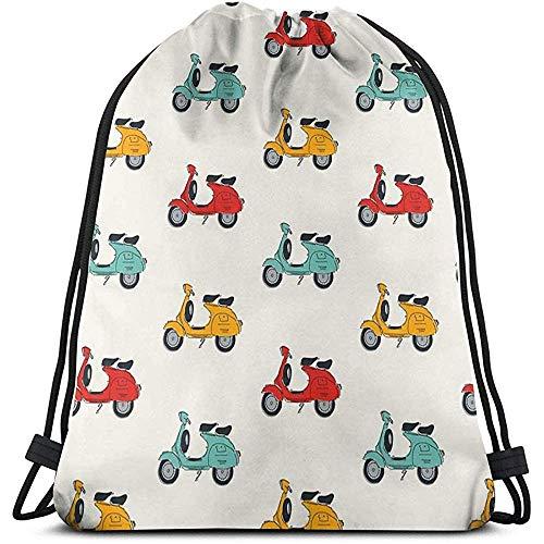 Retro Vespa Drawstring Backpack Bag Gym Travel Yoga Casual Snackpack Shoulder bag