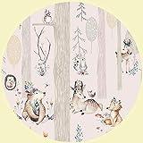 Wandtattoo für Kinderzimmer - Motiv Wald mit Indianer & Tiere - R& - Wandaufkleber - Kreisform- Fototapete selbstklebend - Wandsticker (Ø 30cm)