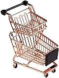 GJNVBDZSF Carrello Spesa Doppio Strato Modello Carrello supermercato in Ferro battuto Cesto portaoggetti in Metallo Oro Rosa Oro Rosa