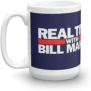 ビル・マーのマグカップでリアルタイム。 15オンス セラミック 光沢 マグカップ 握りやすいハンドル付き クラシックな外観と感触 セラミック光沢マグカップ 15オンス コーヒー愛好家へのギフト