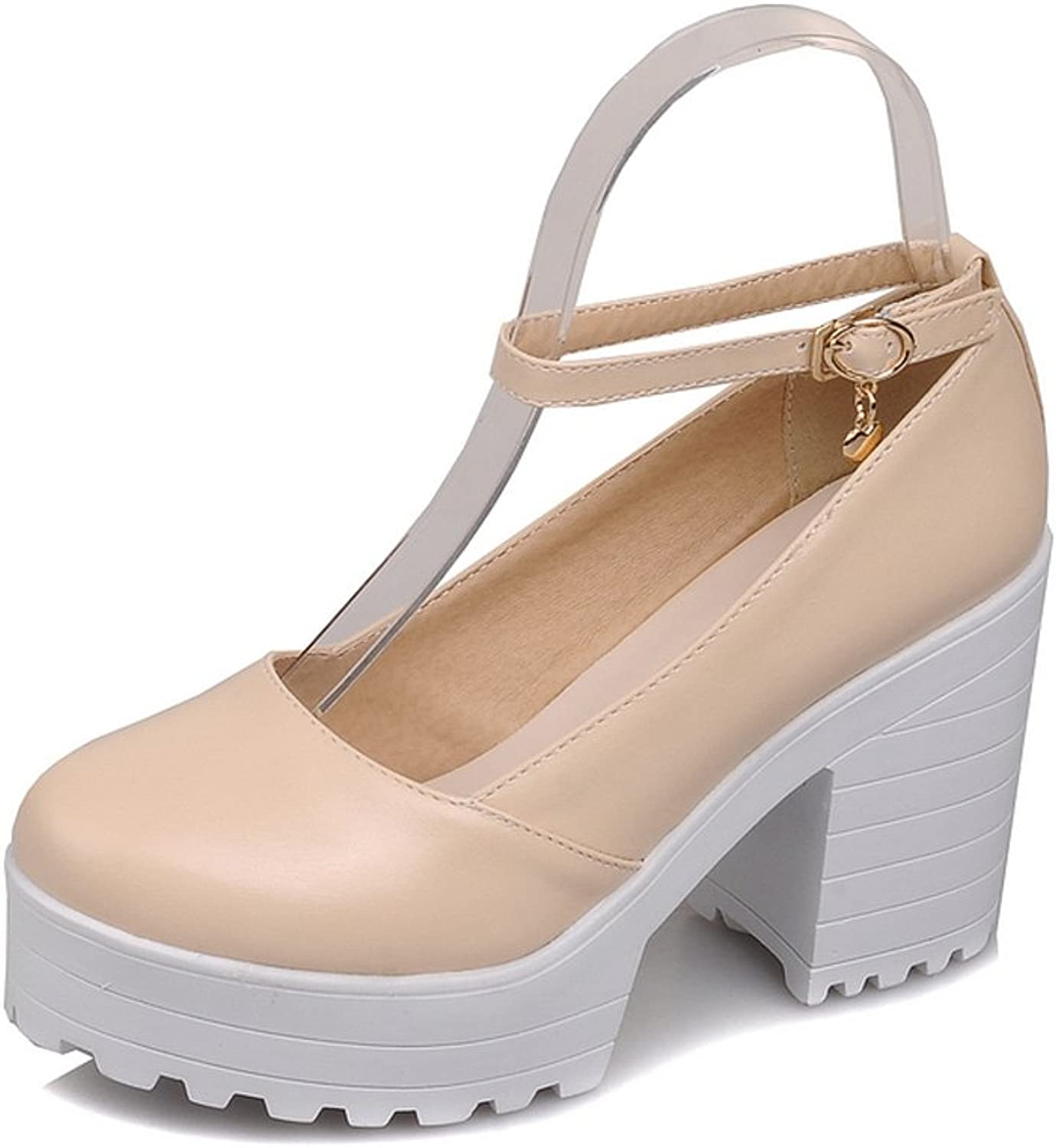 Lucksender Womens Round Toe Platform Chunky Heels Ankle Strap Mary Janes Pumps shoes