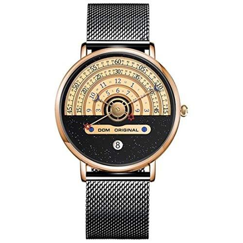 DOM Herren Uhr Analog Quarz mit Edelstahl Armband M-1288