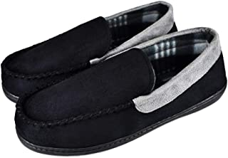 Tirzrro Men's Pile Lining House Moccasin Slippers with Soft Memory Foam Insole Shoes US 11 Black Gray