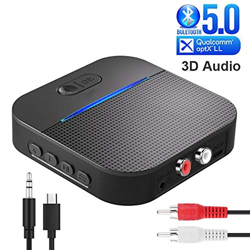 QINAG Bluetooth 5.0 Sender Empfänger Wireless Audio Adapter RCA 3,5 mm Stereo-Audio-Interface for TV PC Autoradio-Home-Audio