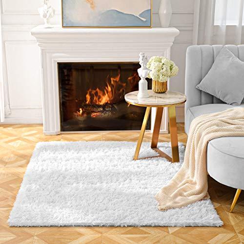 BAYKA Machine Washable Fluffy Area Rug Indoor Ultra Soft Shag Area Rug for Bedroom, Non-Slip Floor Carpet for Kids Home Decor Nursery Rug 4x5.3 Feet Pear White