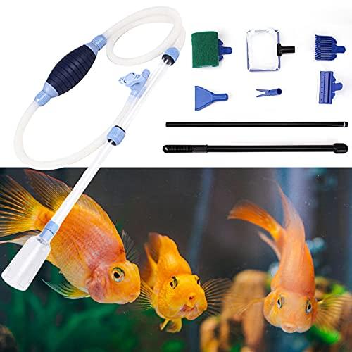 Holzsammlung Nettoyant de Gravier D'aquarium, Kit Pompe Aspirateur Aquarium avec Aquarium 5 en 1 Kit de Nettoyage Multifonction, Changeur d'eau Filtre Tuyau de Siphon Aquarium Filtre à Eau Gravel