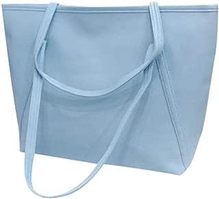 Women PU Solid Simple Big Capacity Messenger bag Zipper candy color shopping Totes soft Single Shoulder Bag,Blue,S