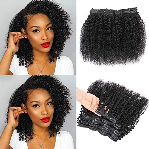 Kinky Curly Clip In Hair Extensions for Black Women Human Hair, Urbeauty 10 inch Curly Hair Extensions Clip in Human Hair, 3c 4a Kinky Curly Hair Clip Ins for Women