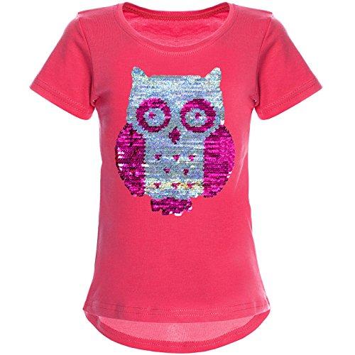 BEZLIT Mädchen Wende-Pailletten T-Shirt Tollen Eulen Motiv 22031 Pink Größe 104