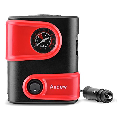 Audew Tire Inflator, Mini Air Compressor - Portable Tire Pump with Gauge, 12V DC Auto Tire Inflator for Car, Bicycle, Motorcycle, SUV,Basketball and Other Inflatables