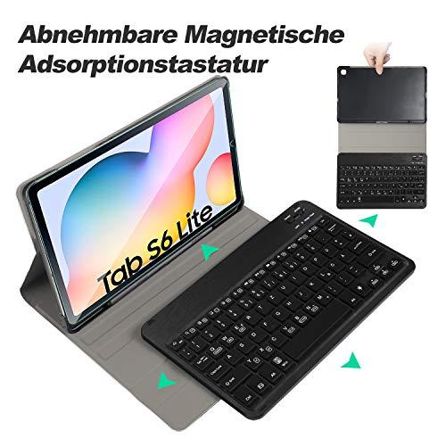 ELTD Tastatur Hülle mit Panzerglas für Samsung Galaxy Tab S6 Lite,Deutsches QWERTZ Tastatur mit Schützhülle und Glas Displayschutz für Samsung Galaxy Tab S6 Lite 10,4 Zoll 2020,Schwarz