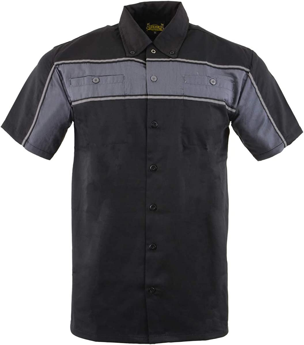 Biker Clothing Co. MDM11672.01 Men's Black and Grey Short Sleeve Mechanic Shirt with Reflective Material