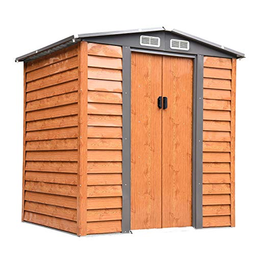 Outsunny 6ft x 5ft Metal Garden Shed Gardening Tool Storage w/Foundation and Ventilation Brown 197.5L x 160W x 178-201H cm