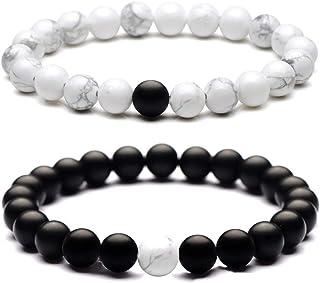 Reizteko Yin and Yang Elastic Lava Stone Essential Oil Diffuser Black Matt White Howlite Bracelet (Pack of 2) Smooth Silver