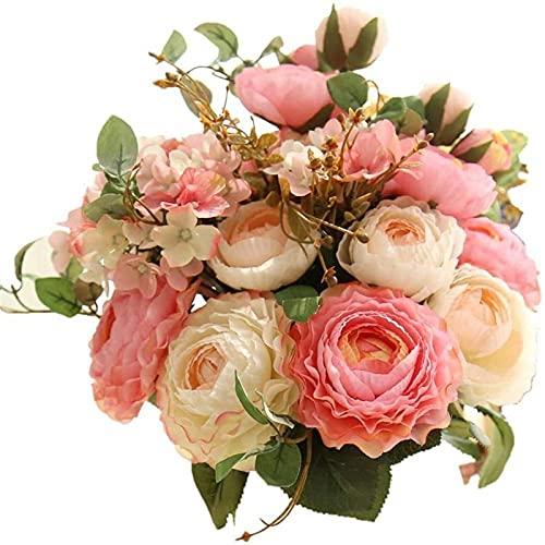 Flores artificiales artificiales de tacto real, rosas de plástico de seda, arreglos de flores, ramos de boda, decoración de mesa floral para el hogar, boda, fiesta, decoración de jardín (champán rosa)
