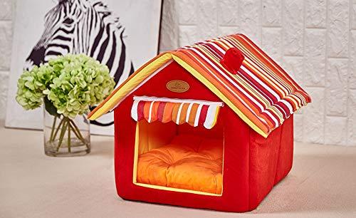 HEISHOP Almohada Nest Nest, Estable, Lana cálida, Estilo casero, fácil de Limpiar, para Gatos y Perros, Rojo, 55 * 50 cm