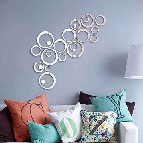 DJXM Etiqueta de la pared 24pcs / set 3D DIY Circles Etiqueta de la pared Decoración del hogar Espejo Pegatinas de pared para TV Fondo Decoración para el hogar Decoración de acrílico Arte de la pared