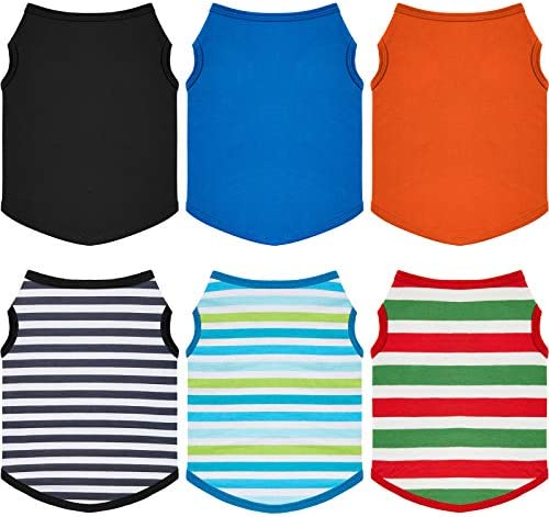 6 Pieces Pet T Shirt Dog Shirt Striped and Blank Sleeveless Cotton Dog T Shirt Colorful Puppy product image