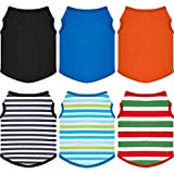 6 Pieces Pet T-Shirt Dog Shirt Striped and Blank Sleeveless Cotton Dog T-Shirt Colorful Puppy Sweatshirt Breathable Cute Pet Clothes for Dogs and Cats (M Size)