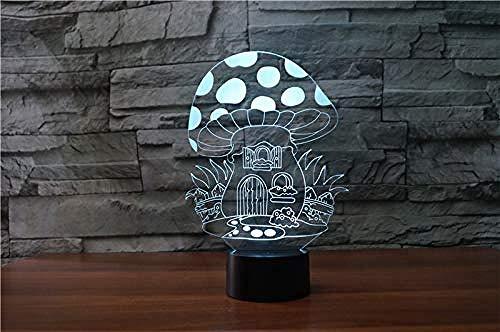 Interruptor de luz con sensor táctil 7 colores que cambian la luz nocturna Lámpara 3D Seta USB Luz de mesa Lámpara LED para niños Regalos