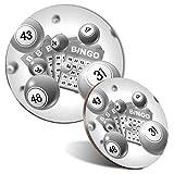 BW - Alfombrilla de ratón y posavasos, diseño de bingo Game Gran Auntie 20 cm y 9 cm para ordenador y portátil, oficina, regalo, base antideslizante #38071