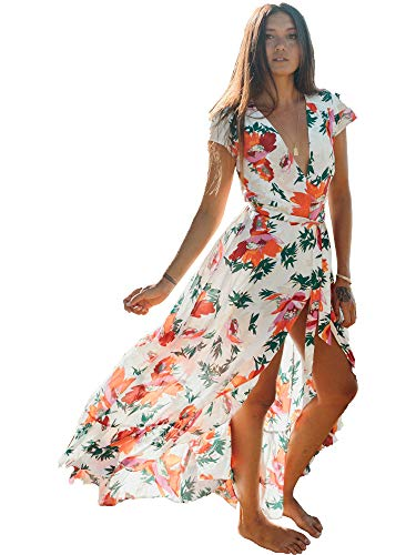 XIX Palm - Kokomo Wrap Maxi Dress | Sundress & Beach Coverup | Casual Boho Overall | Floral & Flowy Vintage | V-Neck Ruffle Wearing 100% Rayon for Women