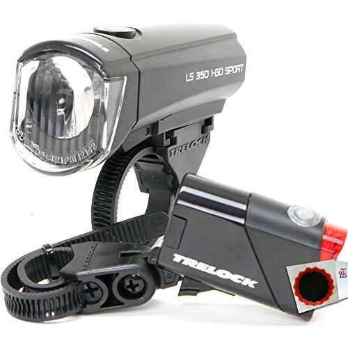 Trelock Batterieleuchtenset LS 350/LS 710 15Lux Scheinwerfer+Rücklicht +Flicken