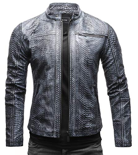 Crone Epic Python Cut Herren Lederjacke Cleane Basic Jacke mit Strukturiertem Rindsleder (L, Schwarz Grau (Python Cut))