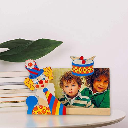 Dida - Cadre Photo Bois Enfant - Clown Tambour - Cadre pour Photo Horizontale