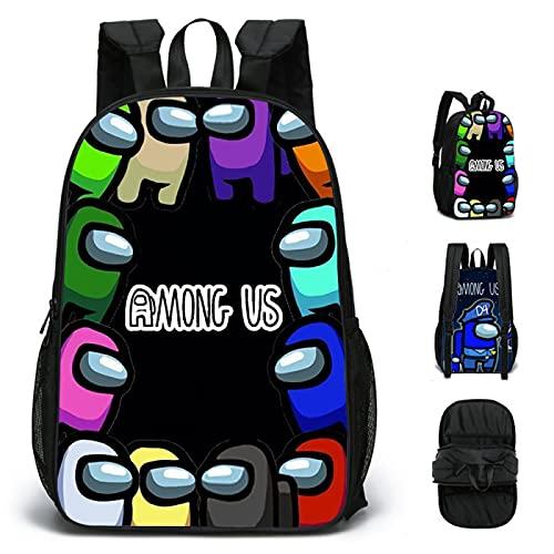 ZBK Game Among US Theme - Mochila escolar de doble cara, mochila para portátil para estudiantes, niños y niñas, 4 colores