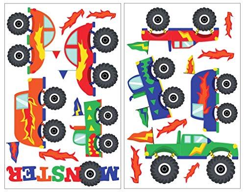Samunshi® 17 Pièces monstertruck sticker mural décoratif pour chambre d'enfant motif camion bigfoot truck 2x 16x26cm