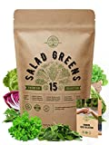 15 Lettuce & Salad Greens Seeds Variety Pack...