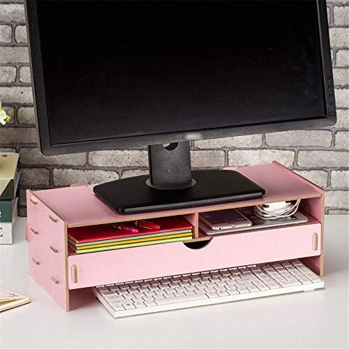 OH Caja de Alenamiento de Escritorio Multifuncional de Madera Mesa de Escritorio Rack Thinighting Rack Desk Soporte para Office Home Accesorios de oficina/Rosado / 49X21X16cm