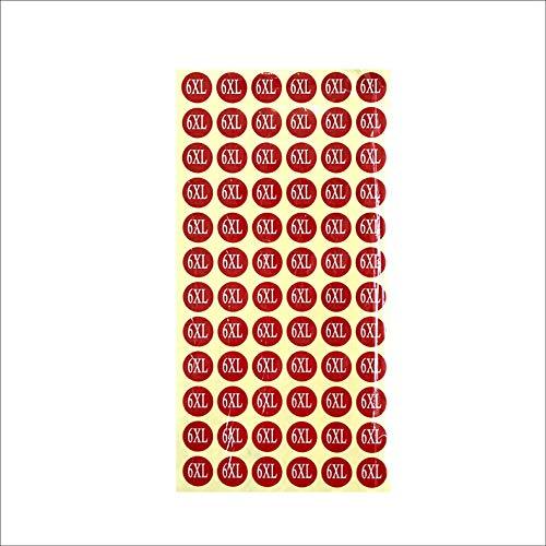 サイズシール 6XL サイズ 業務用 大きさ=直径1.4cm 赤地に白文字 1シートに72枚のシールが15シート(1080枚分)入り 仕分け 梱包 ラベル 服 表示 アパレル サイズ表示 size フリマ ラクマ イベント アパレル 店舗出店 在庫管理 デ