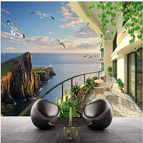 xbwy Hd Sea View Room Stereo Scenery Tv Background Wall Living Room Wall Space Expansion Wall Paper Home Decorations-120X100Cm