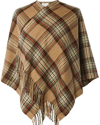 I Luv Ltd Ladies Lambswool Cape in Stewart Camel Tartan