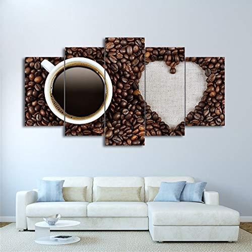 Gbwzz 5 stuks schilderijen op canvas, wand, kunst, frame, 5 stuks, liefde, café, kunst, koffiebonen, posters, modulair, HD, prins, foto's, keuken, decoratie thuis Frame 20x35 20x45 20x55cm