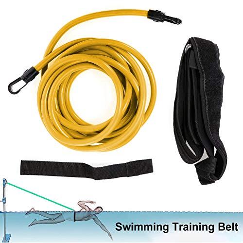 shenruifa Pool Schwimmgurt, 3M/4M Schwimmseil für Pool Erwachsene, Einstellbare Pool Schwimmgürtel, 4PCS Elastisches Schwimmseil + Schwimmgürtel + Riemen + Netztasche für Schwimmtrainingsgeräte