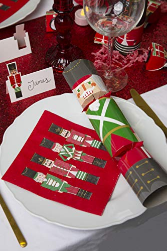 Talking Tables Plastic Free Fully Recyclable Nutcracker Christmas Crackers Tableware Day (Box of 6), Red and Green, 30cm / 12'