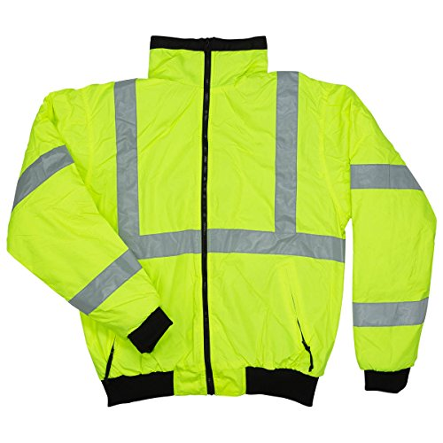 North 15 Men's High Visibility Safety Bomber Jacket, Fleece Lined-2003R-2XL