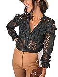 Loalirando Camicia Donna in Pizzo a Manica Lunga Elegante Sexy Scollo a V Serata Clubwear Sottile (Nero, L)