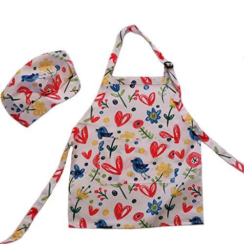 Dapper&Doll - Delantal y sombrero de chef para niña de 2 a 3 años (pájaros, flores, corazones)