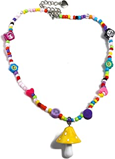 Colorful Fresh Mushroom Heart Rainbow Beaded Pendant Necklace Resin Choker for Girls Women Cartoon Handmade Multicolor Boh...