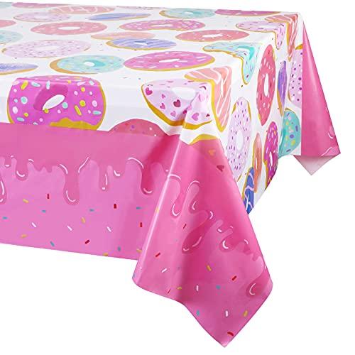 3 Pack Tovaglia plastica Rettangolare - Feste di Tema Ciambella, Copri Tavolo USA e Getta, Articoli per Feste, ideale per feste di compleanno ragazza, Baby Showers, Feste di Compleanno